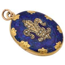 Antique Victorian Enamel and Diamond Locket