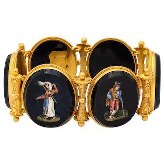 Antique Victorian 18 kt Gold Micro Mosaic Bracelet