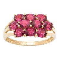 Vintage Ten Stone Almandine Garnet Ring in 14Kt