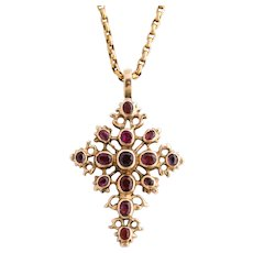 Antique Georgian Spanish Ruby Cross Pendant, circa 1780