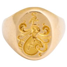 Antique Edwardian Signet Ring with Two Storks by Larter and Sons