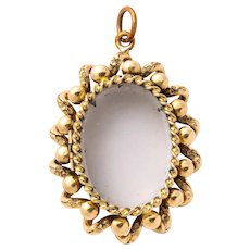 Antique Mid Victorian Gold and Glass Locket Pendant