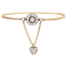 Antique Early Victorian Diamond Heart and Flower Bangle
