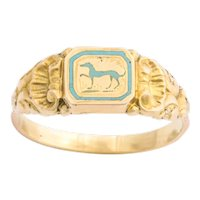 Antique French Early Victorian Enamel Hound Ring