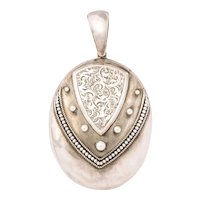 Antique Victorian Sterling Silver Engraved Locket for Two Photographs