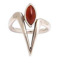 Vintage Modernist Silver and Garnet Ring by Jack Nutting