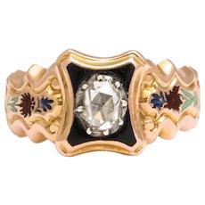 Antique Georgian Diamond and Swiss Enamel Ring