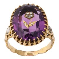 Antique Victorian 9.5 Carat Amethyst and Diamond Ring