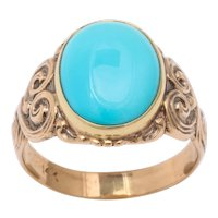 Antique Art Nouveau Turquoise and Gold Ring