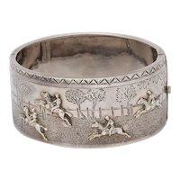 Antique Victorian Sterling Silver Equestrian Hunt Bracelet