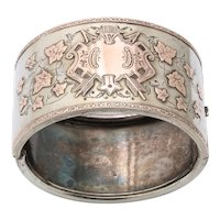 Antique Victorian Sterling and Gold Cuff Bracelet