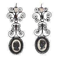 Antique Georgian Berlin Iron Chandelier Earrings