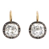 Antique Georgian Sterling and Gold Cushion Cut Paste Earrings
