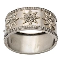 Antique Victorian Silver Three Star Bracelet