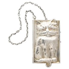 Antique Art Deco Ruby Eyed Kitten Silver Purse/Compact