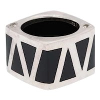 A Modernist Artist Made Sterling Silver and Enamel Geometric Ring