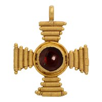 Ancient Gold Byzantine and Garnet Cross