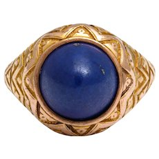 Antique Victorian Sugarloaf Lapis Lazuli Ring