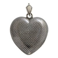 Antique Victorian Plump Niello Heart and Chain