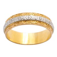 Vintage Midcentury Platinum and Gold Band Ring