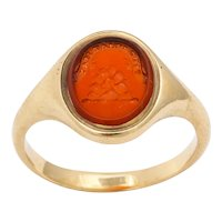 """Antique Mid Victorian Scottish Carnelian Signet Ring """"Tyde What May"""""""