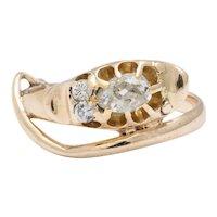Antique Victorian Diamond Smiling Serpent Ring