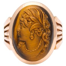 Antique Victorian Tiger Eye Stone Cameo Gold Ring