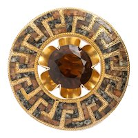 Victorian Rare Gold Scottish Greek Key Brooch