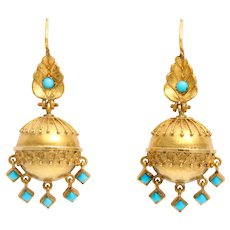 Victorian Gold and Turquoise Etruscan Revival Earrings