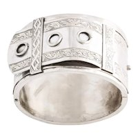 Bold and Rare Victorian Circle Cuff in Sterling