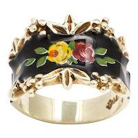 Vintage Gold and Enamel Floral Spray Ring