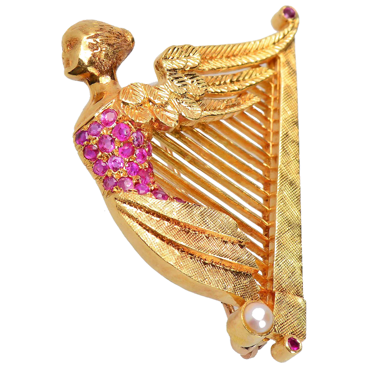 863fe9252 Vintage 18 kt Winged Nike Ruby Harp Brooch or Pendant   Glorious Antique  Jewelry