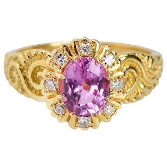 Vintage 18 Karat Pink Sapphire Diamond Ring