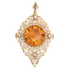 Antique Edwardian Citrine Lacy Pendant