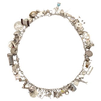 Vintage Sterling Charm Necklace