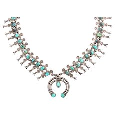 Vintage Navajo Silver and Turquoise Squash Blossom Necklace by Eskie Tsosie