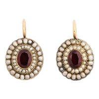 Georgian Garnet and Natural Pearl Earrings