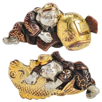Antique Victorian Shakudo Cufflinks