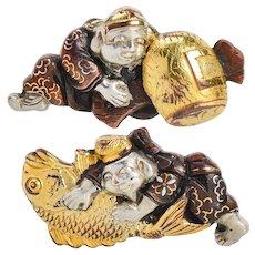 Antique Victorian Era Japanese Shakudo Cufflinks