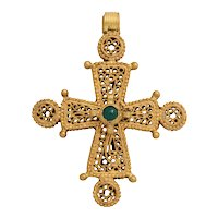 Antique Byzantine Cross with Emerald