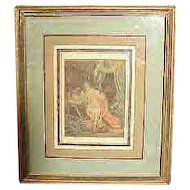 Antique Erotica Hand Colored Book Plate