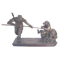 Antique Bronze Oriental Warrior Slaying Bear