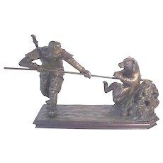 Antique Bronze Oriental Warrior Slaying Bear