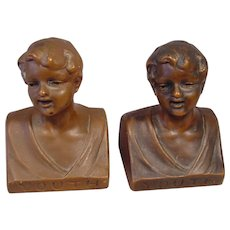 Pr. of Antique Patinated Metal Bookends YOUTH