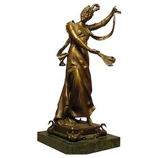 Art Nouveau French Bronze Dancer Signed Moren