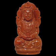 Rare Carved Goldstone Seated Buddha