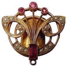 Antique Art Nouveau Pearls Rubies FIX Slide