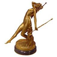 Antique Gilt Bronze Dancing Nude Signed E. Neuhauser