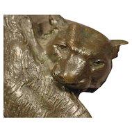 Art Deco Bronze Tiger Signed J. Merculiano Dated 1914