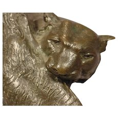 Art Deco Bronze Tiger Signed J. Merculiano Dated 1914